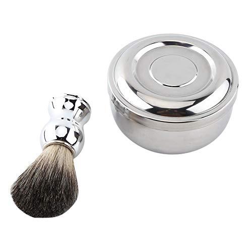 Shave Tool Kit, Rasierset für Herren Wunderschöne Rasierschale aus Edelstahl und Rasierpinsel für Herren - Shave Seife-becher