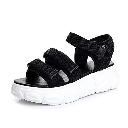 YYAMO Sandalias para Mujer Sandalias Deportivas Negras Zapatos de Playa Planos de Verano con Velcro...