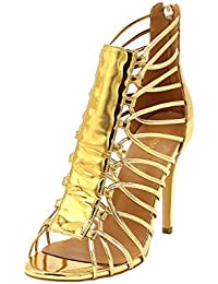ENMAYER Femmes Gladiator Talon Plat Talon Ouvert Talon Bottines Chaussures de Conception en Cuir Verni Sandales Retour Zip Fermeture Chaussures Plus Size