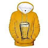 Aoogo Herren Kapuzenpullover Bier Festival Theme Sweatshirt mit Kapuze Herren Beer Festival 3D Druck Langarm Hoodies Sweaters