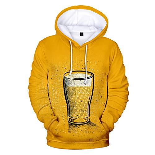 Realde Herren Langarm Hoodie Pullover Mode 3D-Bierdruck Rundhalsausschnitt Tops Youth Männer Herbst und Winter Lang Geschnittenes T-Shirt Sport Yoga Atmungsaktiv Bluse