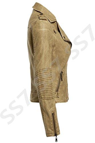 SS7 Femmes Veste Motard Simili Cuir, Gris, Tailles 36 à 44 Naturel