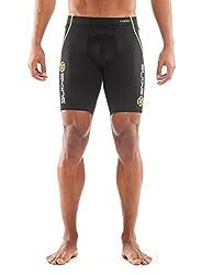 SKINS Men's A400 Compression Power Shorts, Black/Yellow Logo Line, Medium