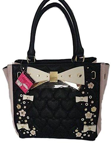 Betsey Johnson Damen Handtasche Schulter Tasche Herz Tote mit Schleifen Blumen Herzen Schmuck (Schwarz Rosa Gold) (Betsey Johnson Handtasche)