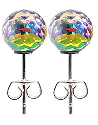 Silver plated round mosaic glass crystal stud earrings - various colours