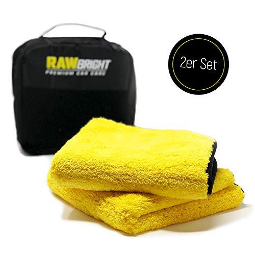 RAWBRIGHT 2 x Premium Mikrofasertücher mit Aufbewahrungstasche | 1200 GSM enorm saugstark, fusselfrei & ultraweich | professionelle Wäsche Lackpflege Auto & Motorrad | Poliertuch Trockentuch | 40x40cm