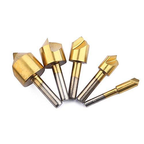 OUNONA 5 Stück High-Speed-Stahl-Single-End-Senker Fase Werkzeug Entgraten Werkzeugsatz Rundschaft zum Schneiden von Löchern in Kunststoff Kupfer Aluminiumplatte Dämmplatten PVC-Blatt