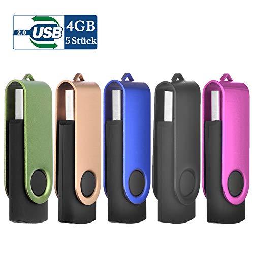 USB Stick 4GB USB-Stick 4 GB Speicherstick 5 Stück Memory Stick (Schwarz, Blau, Grün, Hot-Pink, Gold)