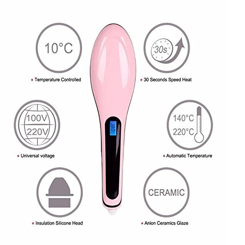 Vmoni Fast Hot Hair Straightener Comb Brush With LCD Screen & Temperature Control (Pink)