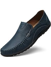 Shenn Hombre Conducción Coche Ponerse Comodidad Cuero Mocasines Zapatos