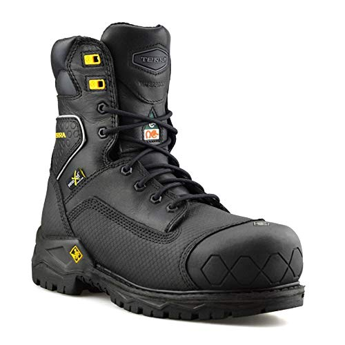 Terra Mens Sawtooth Leather Waterproof Safety Steel Toe Cap Work Boots Shoe Size[UK 11, Black]