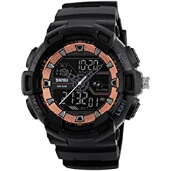 Watch Men Outdoor Sport Watches Chronograph Digital Wristwatches Mens Watch , red