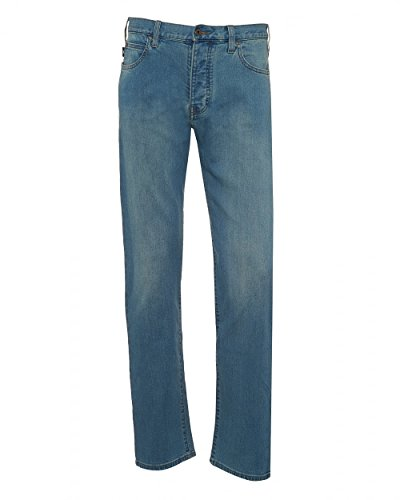 Emporio Armani Mens J21 Jeans, Faded Light Whisker Blue Regular Fit Denim
