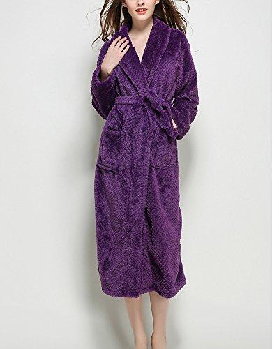 Unisex Adulto Luxury Accappatoio Vestaglia con Cintura Super Soft Dressing Robe Abiti Viola
