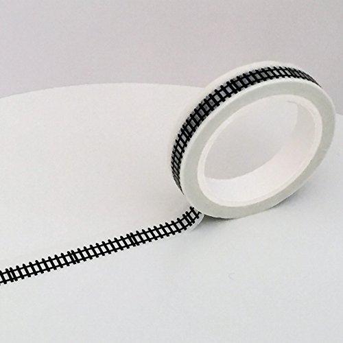 Lattenzaun Slim Washi Tapes–Skinny Masker Klebeband, 9mm x 7m Schwarz Weiß