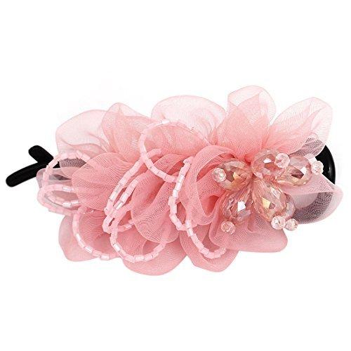 Dents en plastique clip strass Perle Décor Fleur Barrette Rose