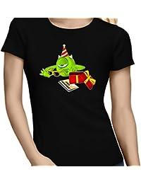 T-Shirt Geek - Anniversaire - Un cadeau qui fait plaisir.... :) - T-shirt Femme Noir - Haute Qualité (575)