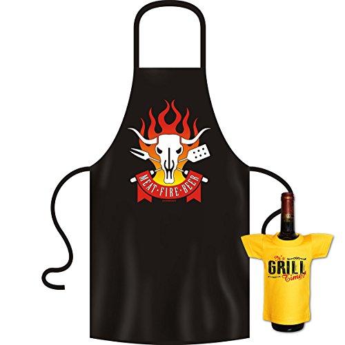 tolle bedrucke Grillschürze im Set + Mini T-Shirt Meat Geburtstag Geschenk Grill Schürze Kochschürze Latzschürze Partyschürze Küche Goodman Design®