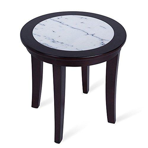 Olee Sleep Couchtisch/Beistelltisch/Beistelltisch aus natürlichem Marmor, rund, aus massivem Holz, Bürotisch, Computertisch, Esstisch, Weiß und Espresso -