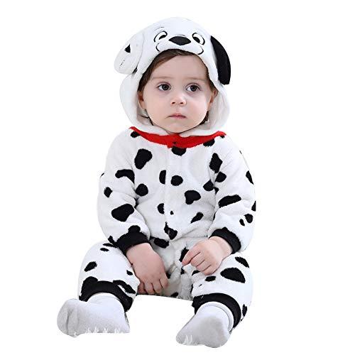 LSERVER Mameluco de Cosplay para Bebés Recién Nacidos Ropa de Arrastre Disfraz Unisexo de Franela con Capucha Estilo Animales, Perro con Lunares, 80 (Altura Recomendada:66-73cm)