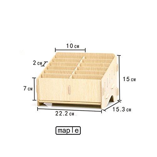 dy-Management-Aufbewahrungsbox Kreative Desktop-Office-Meeting-Veranstalter Klassenzimmer Visitenkarte Multi-Handy-Halter(Ahorn, Kirschholz, Schwarz KT Katze) ()