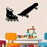 YSQLLA Roller Skates und Skateboard Wandaufkleber für Kinder Kinderzimmer Vinyl Aufkleber Home Decor Stickers45X85Cm