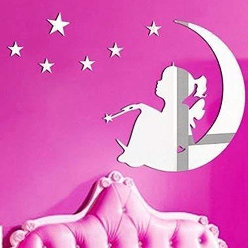 WALPLUS 62x 44cm Spiegel Art Wand Magic Tinker Bell Mond und Sterne Wand Sticker Wandbild Aufkleber Vinyl Home Dekoration DIY Living Schlafzimmer Décor Kids, Silber
