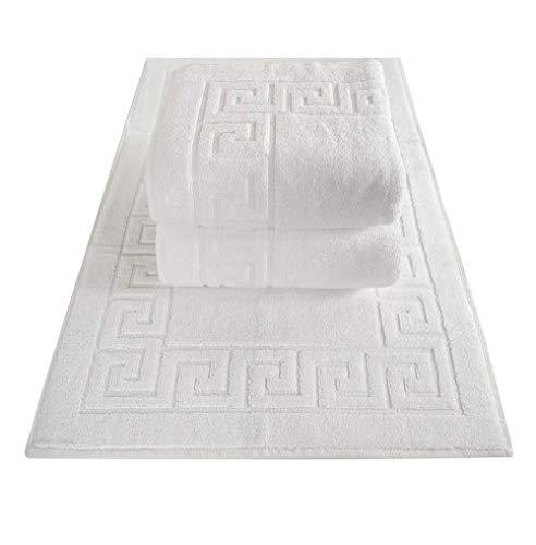 Griechische Muster (ZYN Traders Badteppich, griechisches Muster, Weiß, 2 und 5 Stück, Hotel-Qualität, 1000 g/m², sehr saugfähig und schnell trocknend, weiß, 5-teilig)