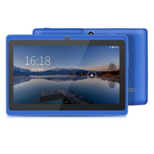 YUNTAB Q88 7-Zoll-Tablet-PC, 1 GB RAM + 16 GB ROM, Google Android 8.1, AllwinnerA33-Quad-Core-Cortex-A7 1,5 GHz, HD-Touchscreen, Dual-Kamera, WI-FI, Bluetooth (Blau)