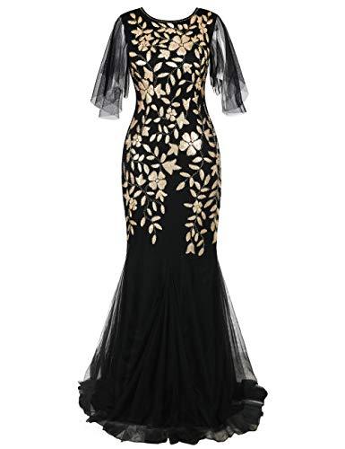 kayamiya 1920er Jahre Lange Maxi Prom Kleider Pailletten Meerjungfrau Brautjungfer Formale Abendkleid S Mattes Gold
