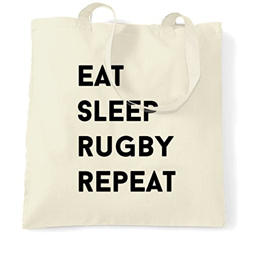 Mangiare Sonno Rugby Ripetere Hobby Sport Gioco Concorrenza Tote Bag Naturale