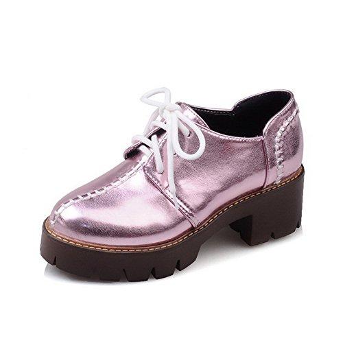 AgooLar Femme à Talon Correct Couleur Unie Lacet Matière Souple Rond Chaussures Légeres Violet