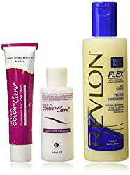 Revlon Color N Care Permanent Hair Color Cream, Light Golden Brown, 6g with Free Flex Conditioner, 200ml