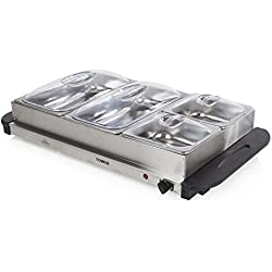 Tower T16016 Four Buffet Server and Plate Warmer with 2 x 2.4 and 2 x 1.2 Litre Trays Capacity, 300 W, Stainless Steel
