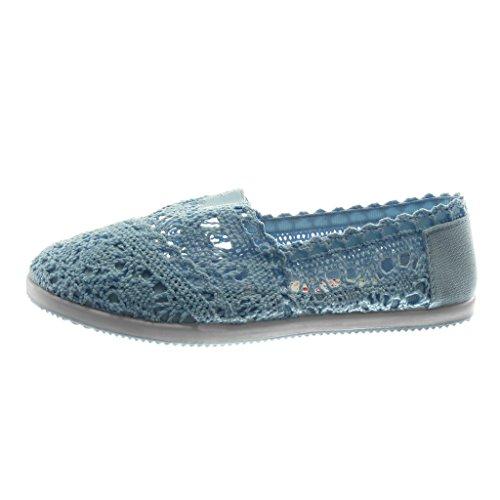 Angkorly Damen Schuhe Espadrilles - Slip-on - Häkel - Perforiert - Elastisch Flache Ferse 1 cm Blau