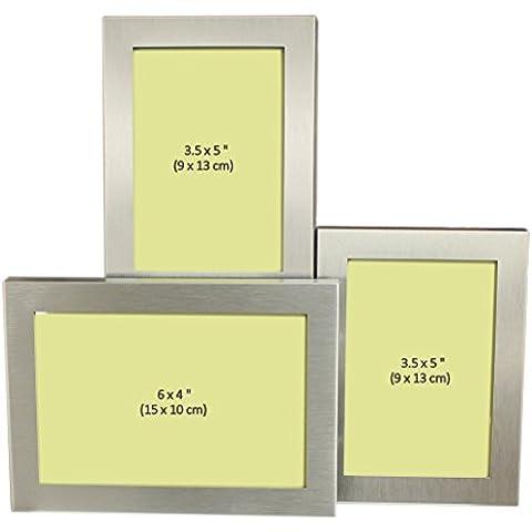 3 Foto Alluminio Spazzolato Argento Rasoato Coloree Foto Cornice - 1 Foto Di 15 X 10 Cm E 2 Foto Di 9 X 13 Cm