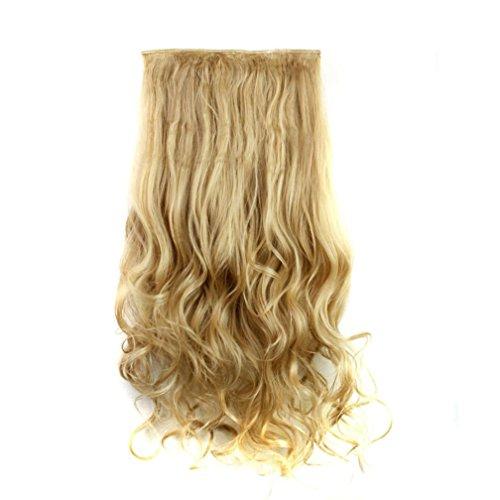 (CLOOM Damen Haare Perücken Frauen Lockiges Haar Perücke Haarteil Clip False Hair Synthetic Hair Extension Curly Heat Resistant Hair Brown Gold Perücke Damen schwarze lockige Perücke (I))