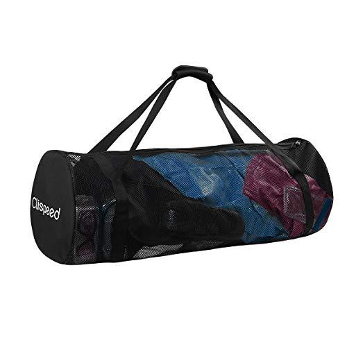 LIOOBO Portable Mesh Duffle Bag Große Faltbare Aufbewahrungsbeutel Packs für Reisen Gym Schwimmen Strand Wassersport Gears (Schwarz) (Bag Zusammenklappbar Duffle)