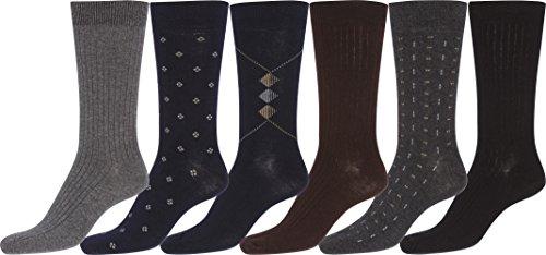 5599 Sakkas Herren Baumwolle Mischung gerippt Kleid-Socken Wert Schwarz 6-Pack - 10-13 (Gerippte Kleid Socken)
