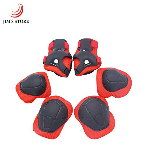 Child's Pads Set with Knee Elbow and Wrist, JIM'S STORE 6 Pcs Children Protective Gear Set Wrist Protector / Guards for Scooter Cycling Roller Skating Skateboard(Red)