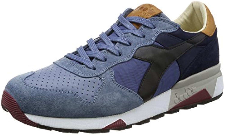 Diadora Heritage Herren Sneaker Made in Italy   Trident 90 NYL Aus Leder Wildleder   Tricolor   Mehrfarbig/Blau