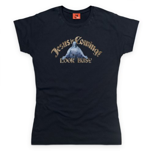 General Tee Jesus Is Coming T-Shirt, Damen Schwarz