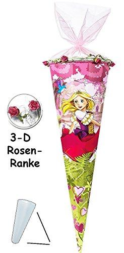 Preisvergleich Produktbild mit 3-D Rosenranke ! - Schultüte - Prinzessin - 85 cm - 12 eckig - mit Organzaabschluß - Zuckertüte - mit / ohne Kunststoff Spitze - Nester - Mädchen - Herzen / Prinzessinnen - Kleid