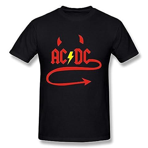 AC/DC - T-Shirt - Imprimé musique et film - Col Ras Du Cou - Manches Courtes Homme - Rose - M