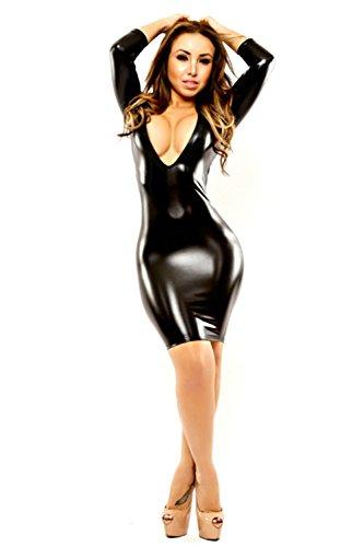 Brandon Christie Dessous Kostüm Schwarz Sexy Frauen Kleidung Nacht Bar Nachtclub Helle Haut Enge Kleid PVC Lackleder Rock DJ Leistung Kleidung, XL (Halloween Um Christie)