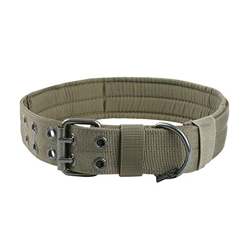 Exzellentes Elite Spanker Nylon Tactical Dog Collar Military Adjustable Training Dog Collar with Double Metal D Ring Buckle