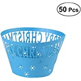 HEALIFTY 50Pcs Cupcake Wrappers Artistic Bake Cake Paper Cups Laser Cut for Wedding Party Birthday Decoration (Blue)