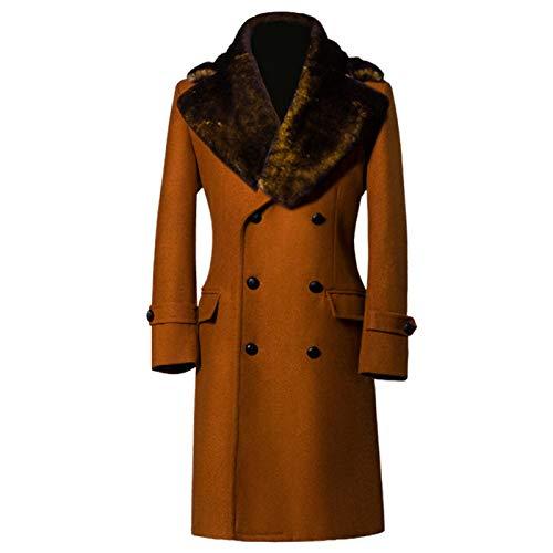 Qqwe cappotto in lana da uomo cappotto in cashmere lungo doppio petto giacca invernale pesante pesante cappotti trench giacca sportiva capispalla con pelliccia grande colla,orange-xxl
