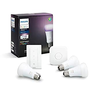 Philips Hue White and Colour Ambiance Starter Kit: Smart Bulb 3x Pack LED [E27 Edison Screw] Including Dimmer Switch and Bridge, Works with Alexa, Google Assistant and Apple HomeKit (B0748MY3RX) | Amazon price tracker / tracking, Amazon price history charts, Amazon price watches, Amazon price drop alerts