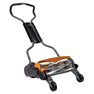 Fiskars Reel Mower, Lawn mower with contactless cutting system, cutting width: 46 cm, StaySharp Max, Black/Orange/Silver, 1000591